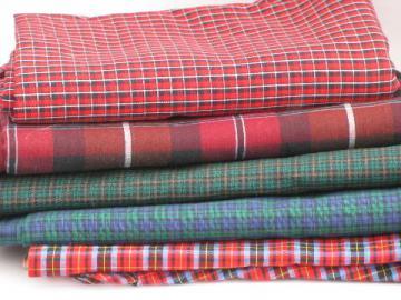 retro 60s-70s cotton and blend plaid fabric lot, vintage plaids and tartan