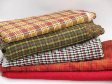 retro 60s-70s cotton and blend plaid fabric lot, vintage plaids and tartan
