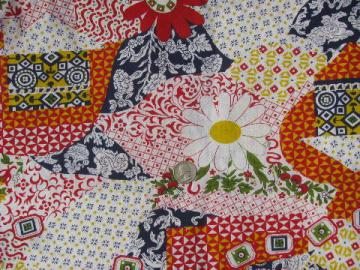 retro 60s-70s vintage cheater patchwork quilt print cotton fabric
