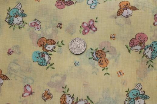 Retro 70s baby owls print cotton blend fabric vintage for Retro baby fabric