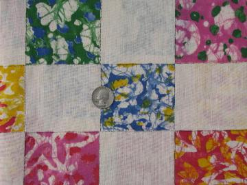 retro 70s color splash patchwork blocks print cotton quilt fabric
