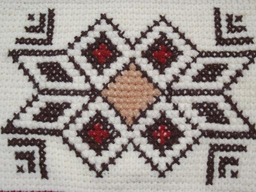 Retro 70s Fringed Indian Blanket Afghan Hand Stitched