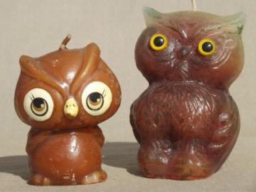 retro 70s owl candles, Halloween fall holiday  candle lot, grumpy owls!