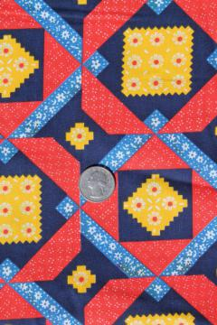 retro 70s patchwork quilt print cotton fabric w/ bright primary color blocks