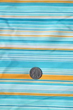retro 70s polyester fabric, vintage poly tricot knit aqua / yellow stripe
