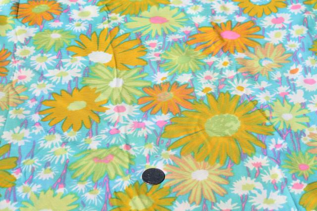 retro 70s polyester fabric, vintage poly tricot knit w/ mod loud floral print