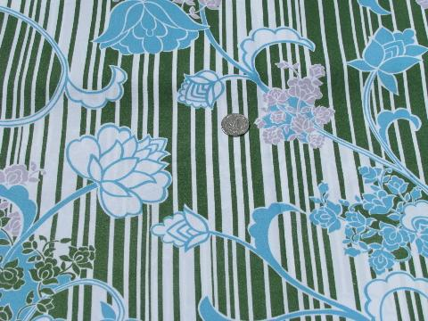 retro 70s silky poly fabric, mod floral print on avocado green stripes