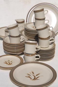 retro 70s vintage Autumn Wheat Japan stoneware pottery Sears dinnerware set for 8