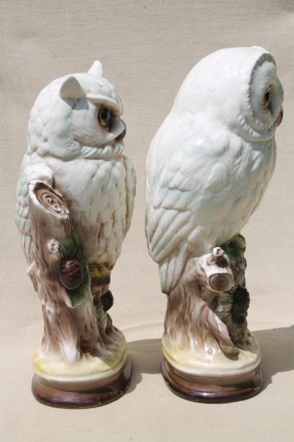Retro 70s Vintage Ceramic Owls Snowy White Owls Barn Owl