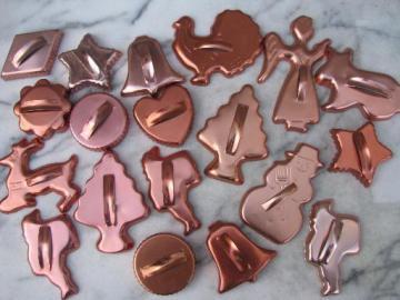 retro 70s vintage copper colored aluminum cookie cutters, large lot