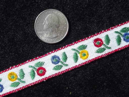 retro 70s vintage embroidered flowers trim, wide woven sewing braid