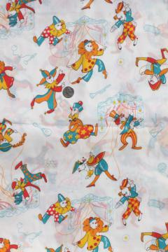 retro 70s vintage fabric w/ perriot clown marionette puppets print