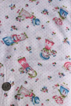 retro 70s vintage lightweight poly knit t-shirt fabric, sunbonnet little girls