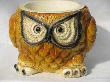 retro 70's vintage, old owl cement planter for camp or cabin