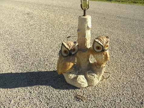 retro 70s vintage painted chalkware table lamp, family of owls