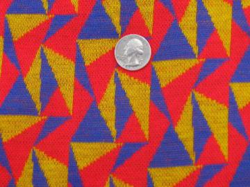 retro 70s-80s bright triangles cotton/poly jersey sweater knit fabric
