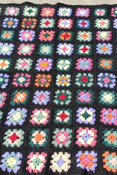 retro 80s colors crocheted granny square afghan, vintage crochet lap blanket throw