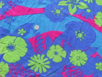 retro 80s neon tropical flowers on synthetic blue stretch velour fabric