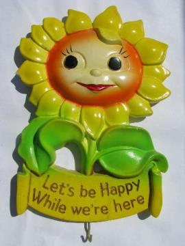 retro Miller Studios chalkware Happy sunflower, kitchen wall plaque w/ hooks