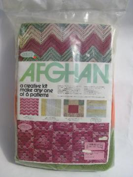 retro afghan kit, knit or crochet throw, yarn and patterns