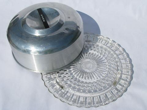 retro aluminum cake keeper cover w/ vintage glass cake plate
