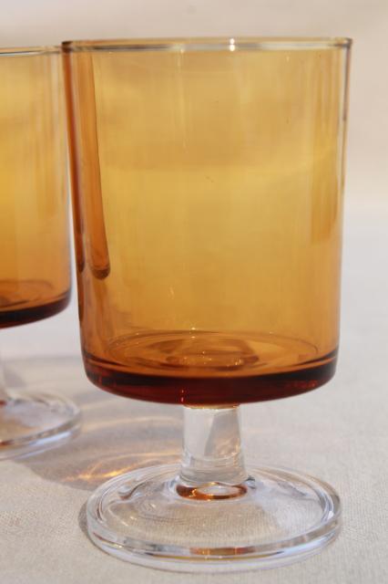 Retro Amber Clear Glass Stemmed Glasses Vintage
