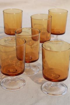 retro amber / clear glass stemmed glasses, vintage Luminarc - France Cavalier pattern