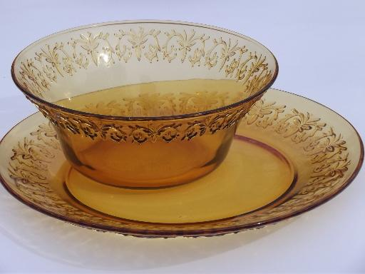 & retro amber glassware dishes glass soup bowls and plates set for 6