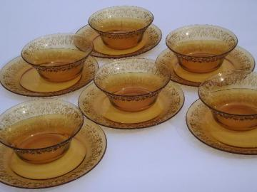 retro amber glassware dishes, glass soup bowls and plates set for 6