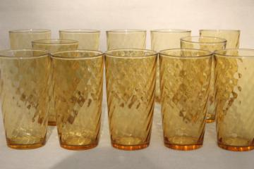 retro amber gold glass tumblers, set of 12 drinking glasses spiral optic pattern