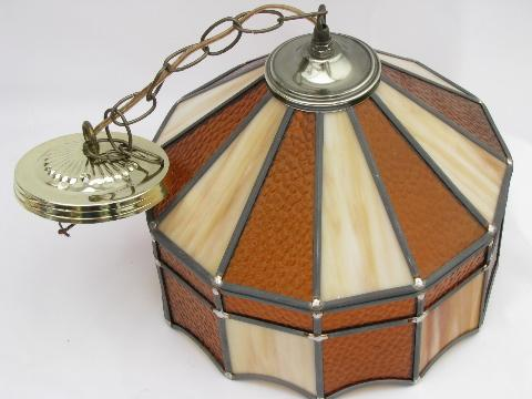 retro amber / slag stained leaded glass hanging light lamp shade