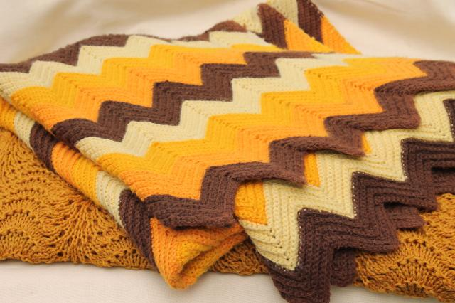 retro autumn colors knit lace & crochet chevrons afghans, vintage throw blankets for fall