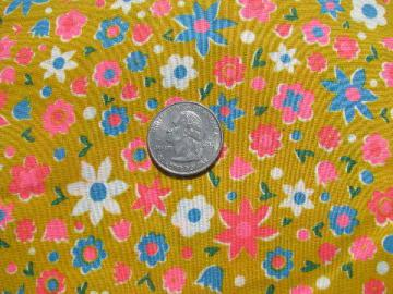 retro bright flower power print on yellow, 60s vintage cotton fabric