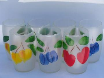 retro bright fruit, vintage hand-painted glasses, frosted glass tumblers lot