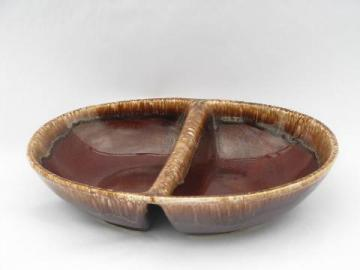 retro brown drip stoneware pottery, vintage Kathy Kale divided serving bowl