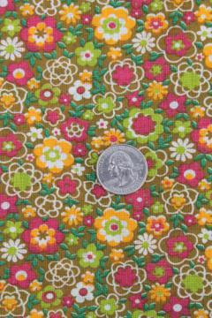 retro calico print voile, vintage fabric w/ original label cotton mull made in Romania