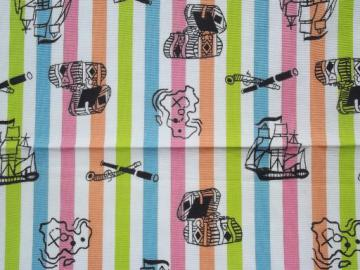 retro candy stripe fabric w/ print pirate theme, treasure chests etc.