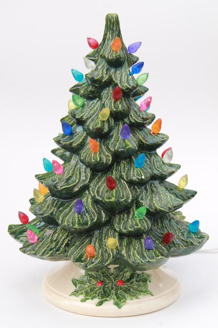 retro ceramic Christmas tree, lighted electric tabletop tree lamp w/ tiny  plastic lights - Retro Ceramic Christmas Tree, Lighted Electric Tabletop Tree Lamp W