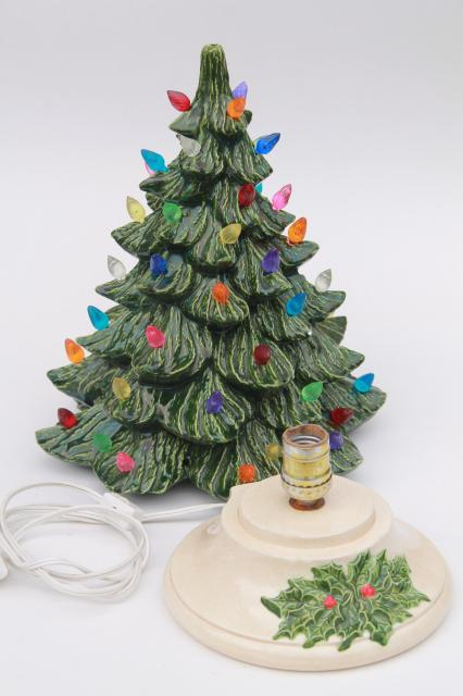 Retro Ceramic Christmas Tree Lighted Electric Tabletop