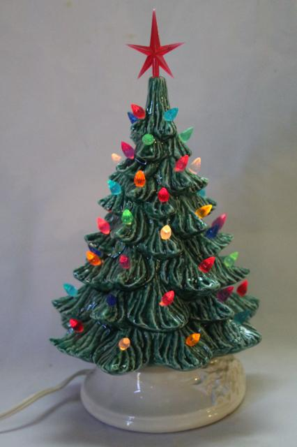 retro ceramic christmas tree lighted electric tabletop tree lamp w tiny plastic lights