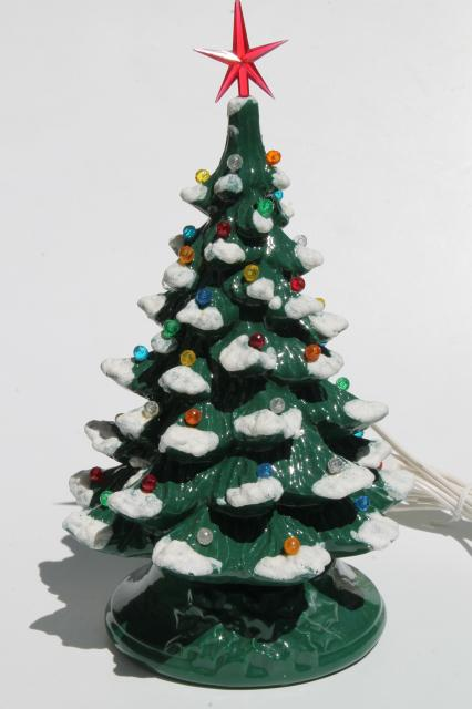 Retro Ceramic Christmas Tree Lighted Electric Tabletop Lamp W Tiny Plastic Lights