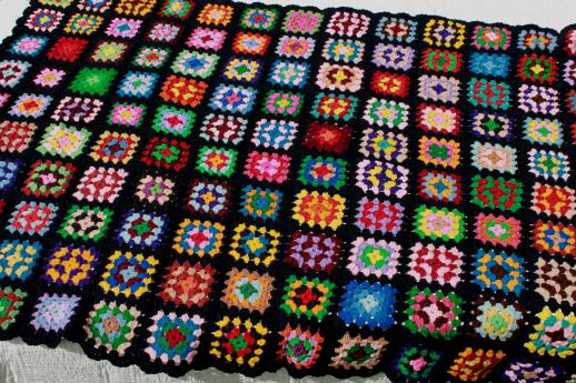 Retro Crochet Granny Square Afghan Blanket Kaleidoscope Of Colors