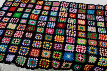retro crochet granny square afghan blanket, kaleidoscope of colors on black