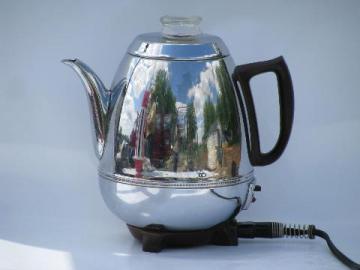 retro egg-shaped chrome vintage G. E. coffee maker percolator pot