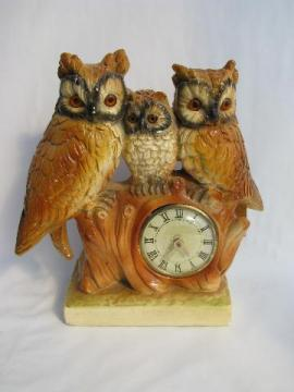 retro family of owls vintage chalkware clock, hunting lodge style!
