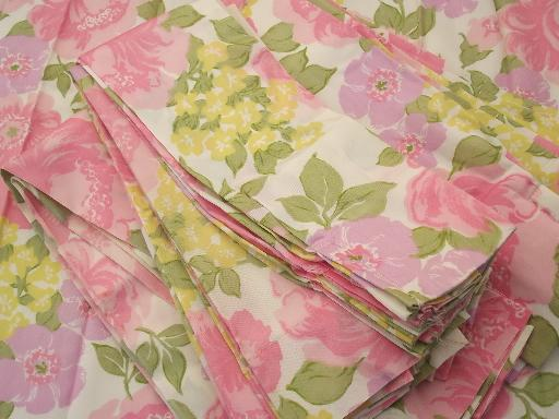retro flowers curtain panels, 60s 70s vintage taffeta fabric curtains