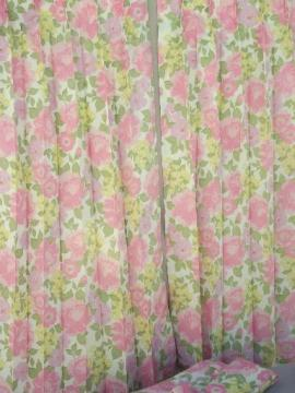 retro flowers curtain panels, 60s 70s vintage taffeta fabric curtains
