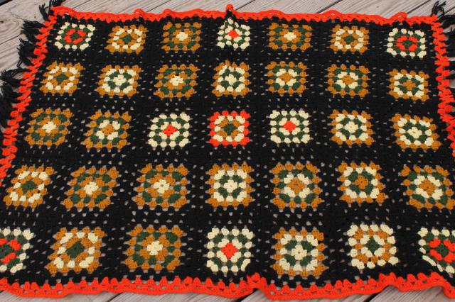 retro fringe crochet afghan blanket, 70s vintage fall harvest colors & black
