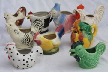 retro funky chicken figurines & cream pitchers, vintage ceramic chickens lot