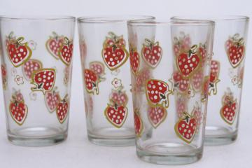 retro glass tumblers set, drinking glasses w/ red strawberries print, vintage Libbey glassware